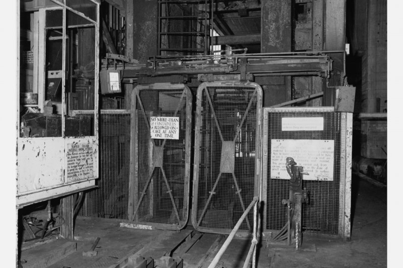 No.2 shaft - detail of gates at top of shaft - gates in closed position awaiting arrival of cage, Seafield Colliery