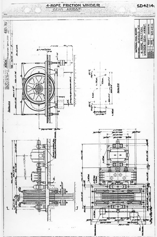 No.2 winder - photographic copy of general arrangement drawing of 4-rope friction winder, drawing dated 1983, Seafield Colliery