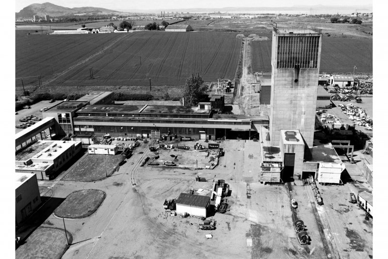 General view from SSE from top of No. 1 winding tower of (right to left), No. 2 winding tower, workshops and lamproom, offices and canteen.