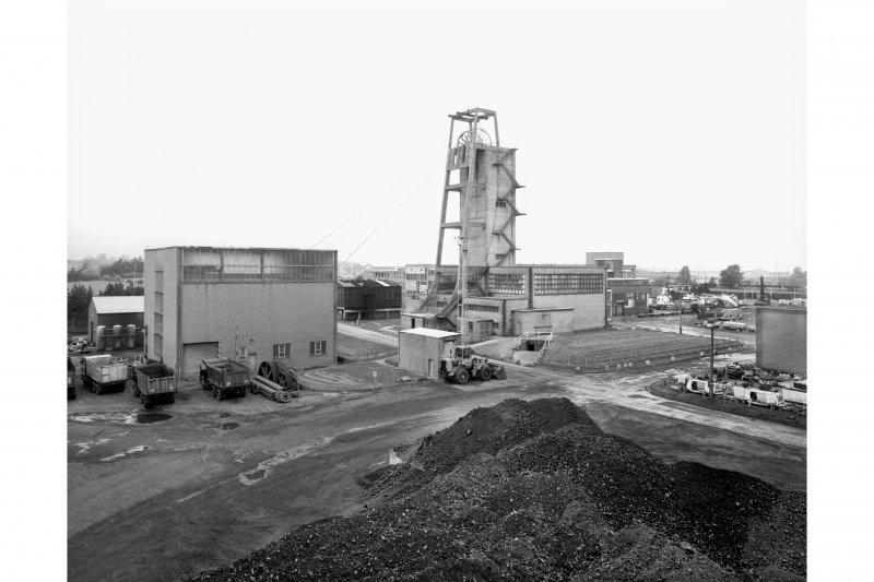 General view from SE of no. 2 shaft headframe and car hall.