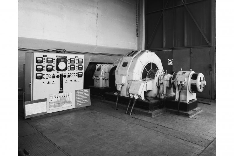 Interior. View of electric-powered fan units inside the fanhouse.