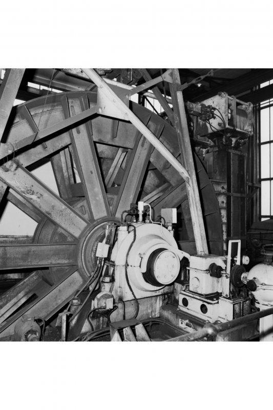 Interior. Detail of cable drum of no. 1 shaft's West winder.