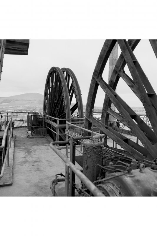 Detail of two pairs of wheels on top of no.1 shaft's headframe.