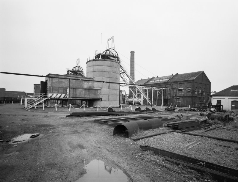 View of nos. 1 and 2 shafts and winding engine house from North West, Cardowan Colliery