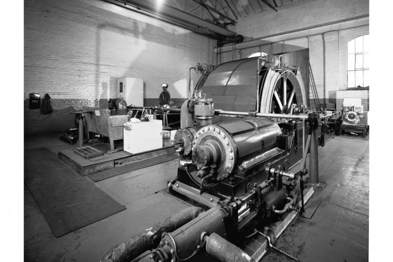 Interior view of winding engine house no. 2, steam winder from South East, Cardowan Colliery
