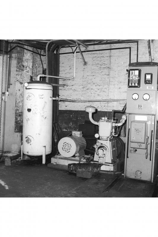 Interior view of compressor house, emergency 'stand by' compressor, receiver and motor, Cardowan Colliery