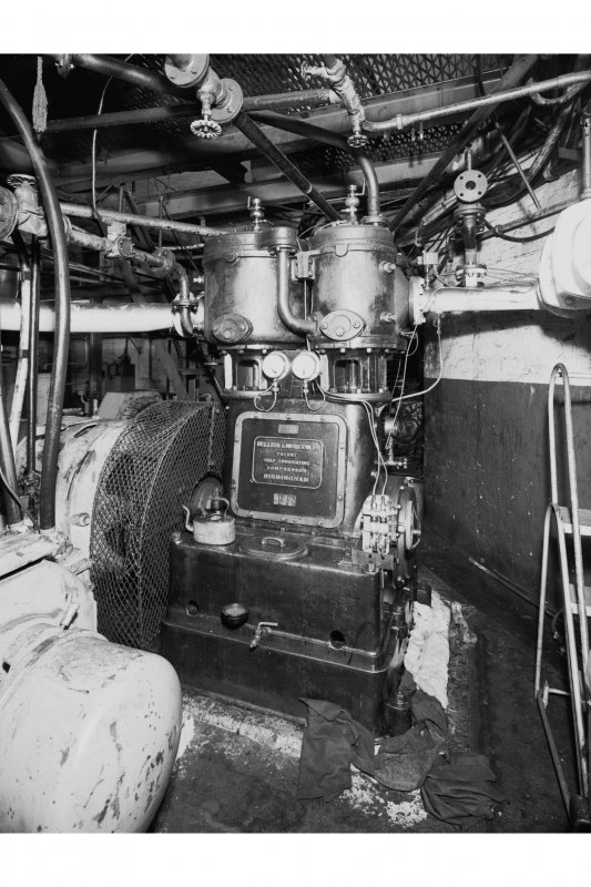 Interior view of compressor house, Bellis and Morcom compressor, Cardowan Colliery