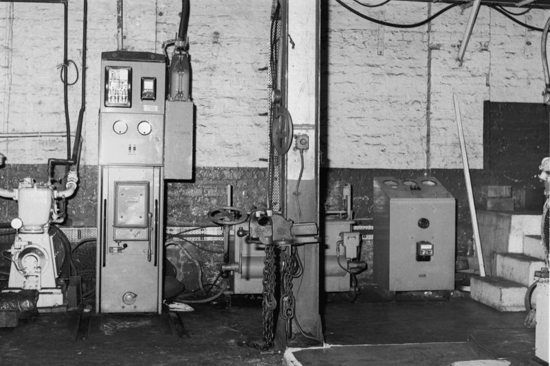 Interior view of compressor house, view of main compressor switch gear, Cardowan Colliery
