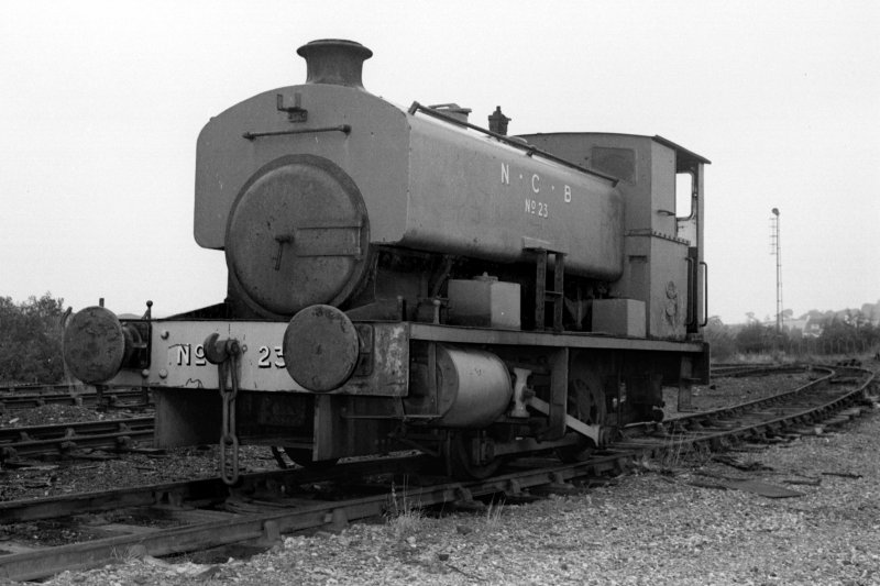 View of Andrew Barclay saddle tank steam railway locomotive, NCB no. 23, AB 2260/1949, at Cardowan Colliery. Now (2010) in the care of the Ayrshire Railway Preservation Group.