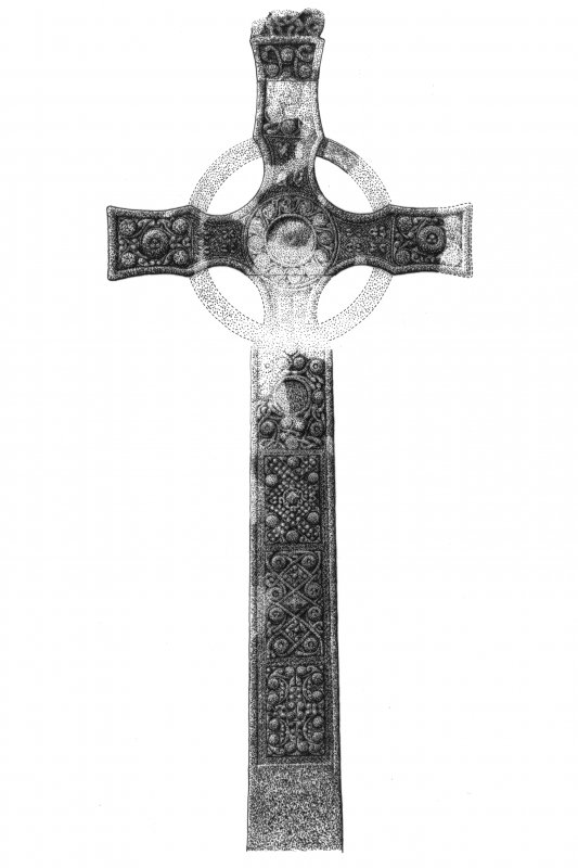 Iona, St Mary's Abbey, St John's Cross. Photographic copy of view of West face of cross partially reconstructed.