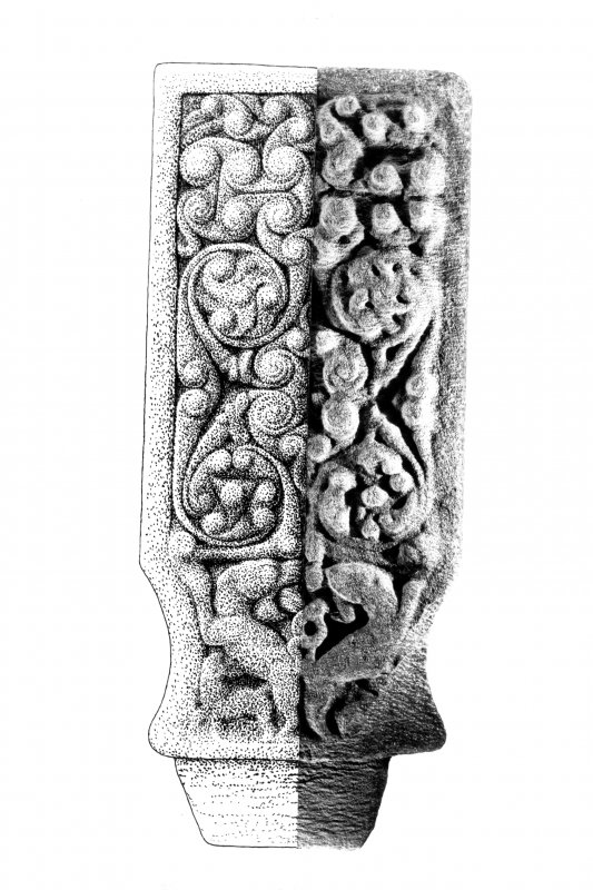 Iona, St Oran's Cross. View showing front of upper arm.