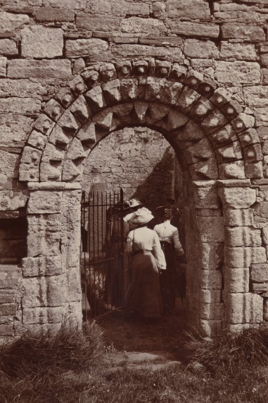 St Oran's Chapel, Iona. View of exterior doorway c.1900.