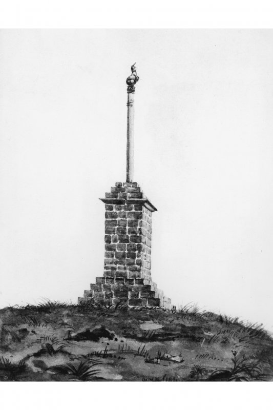 View of the cross when it was situated on Wemyshall Hill. Photographic copy of a pencil sketch by W F Lyon