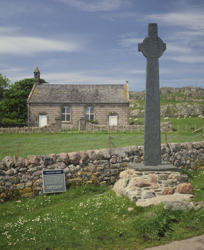 Iona, MacLean's Cross & Iona Parish Church. General view from East.
