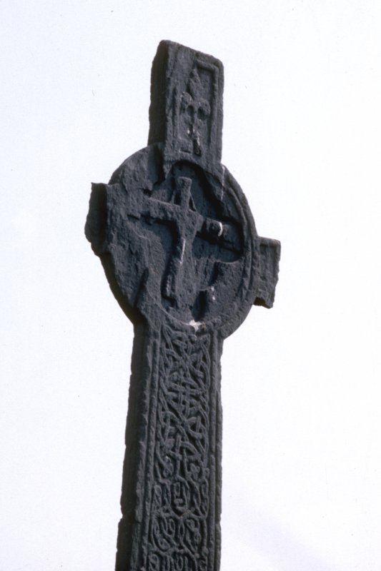 Iona, MacLean's Cross.  Detail showing West face of head.