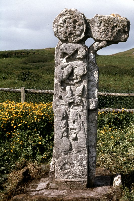 St Columba's graveyard, Canna. Sculptured cross.