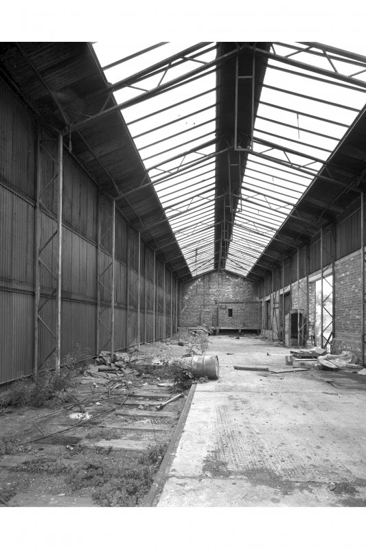 View from North East inside Goods Station Building, showing steel frame