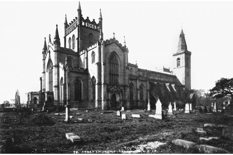 General view of New Abbey Parish Kirk, insc. 'Abbey Church, Dunfermine. N.E. J.P.'