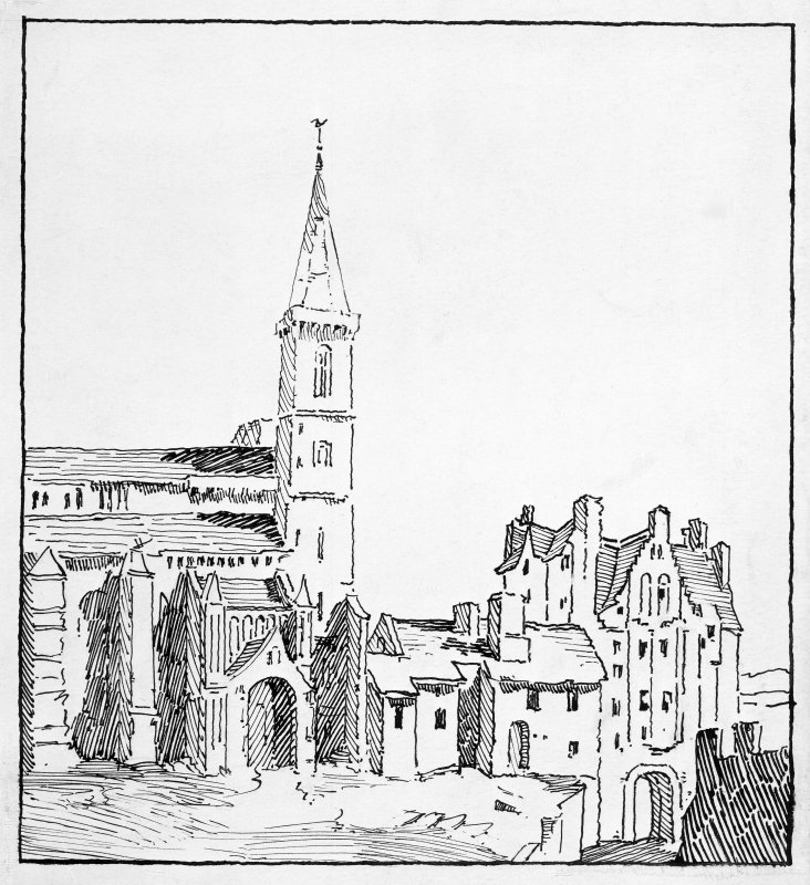 PSketch of Anne of Denmark's Building and New Abbey Parish Kirk