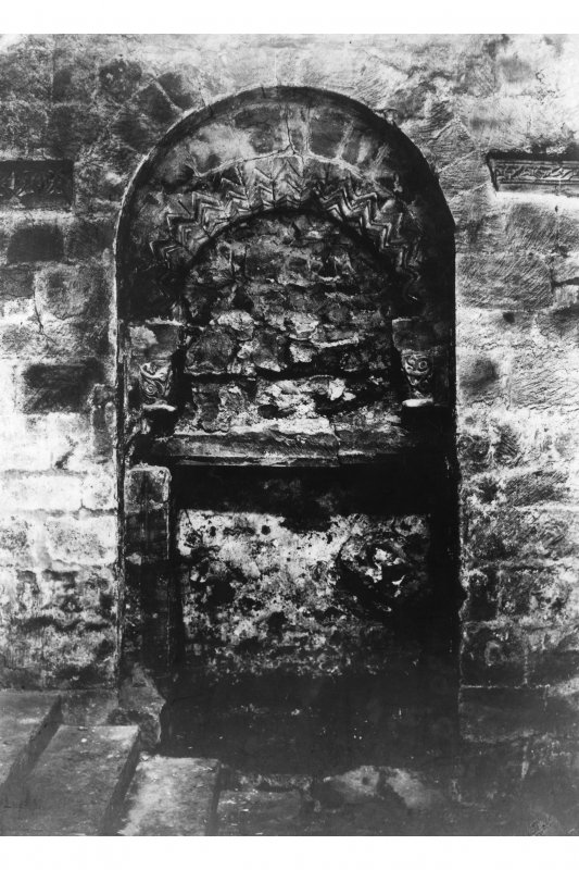 Interior of South nave door after discovery in 1903, New Abbey Parish Kirk