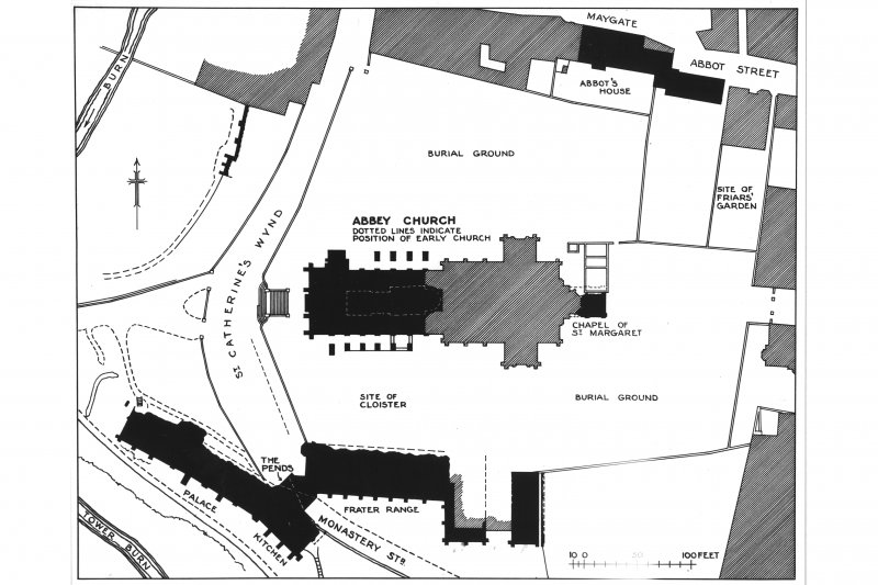 Photographic copy of drawing showing plan of New Abbey Parish Kirk & conventual buildings