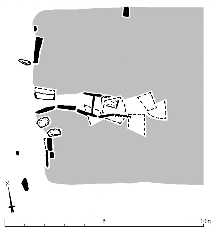 Site plan and detail of chamber of Windy Edge chambered long cairn, redrawn for publication from DC 32461. Unattributed, [1996].