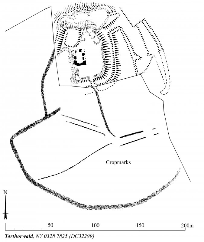 Plan of Torthorwald Castle tower-house, earthworks and cultivation remains, indicating cropmarks. Redrawn from DC 32422 for publication with comparative plans of mottes and medieval earthwork monuments. AL, [1996].
