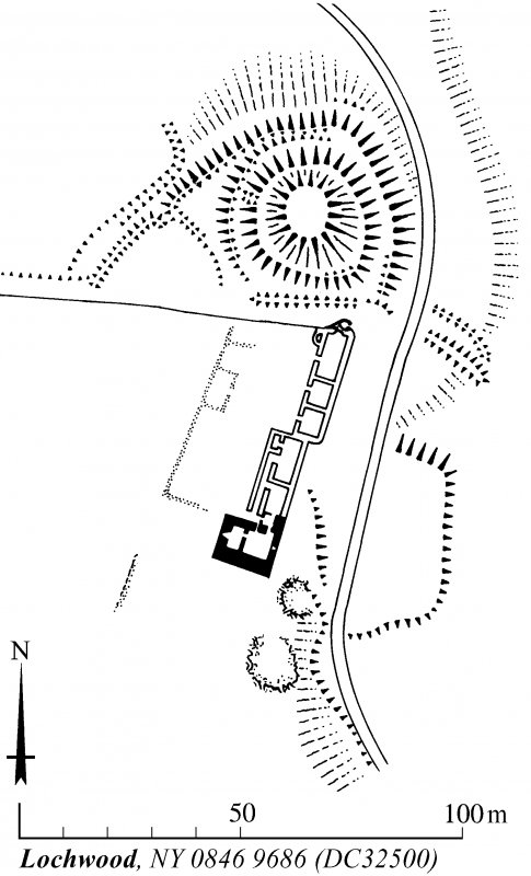 Plan of Lochwood tower-house and motte, redrawn from DC 32403 for publication with comparative plans of mottes and medieval earthwork monuments. KHJM, 21 February 1995.
