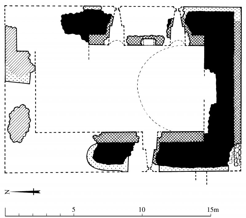 Ground floor plan of Torthorwald tower (indicating phases of construction); redrawn for publication from DC 32485. Unattributed, [1996].