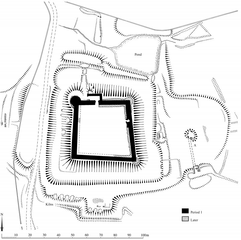 Plan of Auchen Castle and earthworks, indicating construction phases; redrawn for publication from DC 32476. KHJM, 16 March 1995.