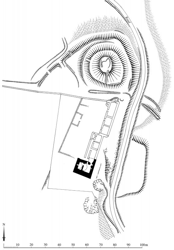 Plan of Lochwood Castle (The Mount) motte, tower-house and adjacent remains, redrawn for publication from DC 33403. HLS, [1996].