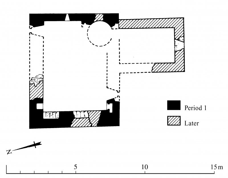 Ground and first floor plans of Frenchlands Tower (indicating phases of construction) with section; redrawn for publication from DC 32332. AL, [1996].