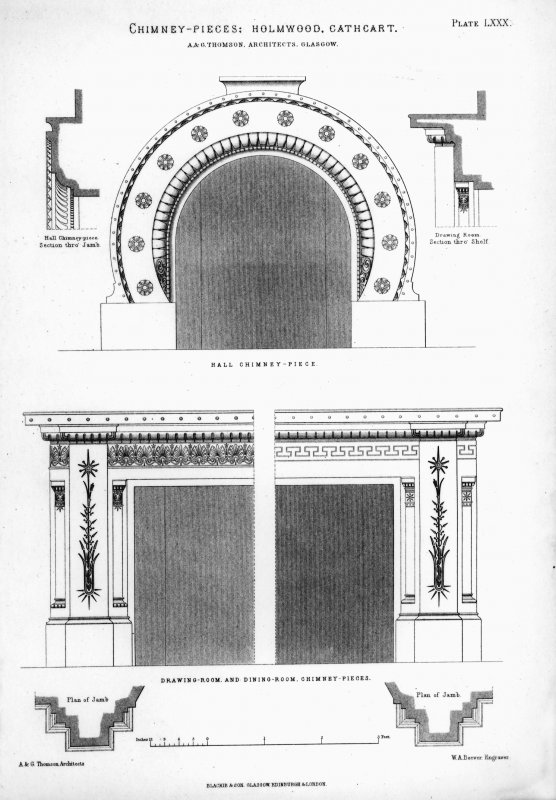 Photographic copy of drawing from Villa and Cottage Architecture showing designs for the chimney-pieces in the hall, drawing room and dining room. Insc. 'Chimney-pieces: Holmwood, Cathcart. A&G Thomson, Architects, Glasgow. Plate LXXX. WA Beever Engraver. Blackie & Son, Glasgow, Edinburgh & London.'