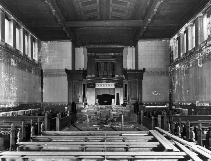 1 Caledonia Road, Caledonia Road Church, interior General view showing damage