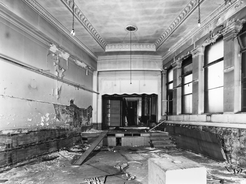 1 Caledonia Road, Caledonia Road Church, interior General view of church hall showing damage