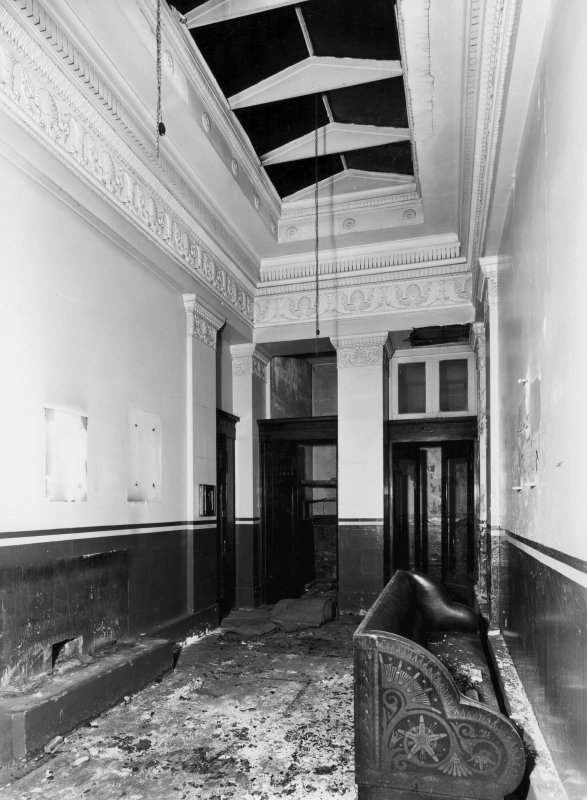 1 Caledonia Road, Caledonia Road Church, interior View of vestibule showing damage