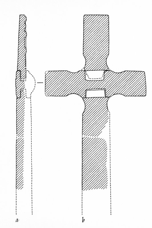 Iona, St Oran's Cross. Plan of front sections showing reconstruction.