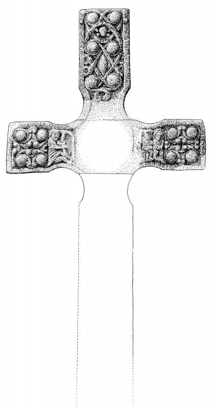 St Oran's Cross, Iona. Partially reconstructed reverse face.