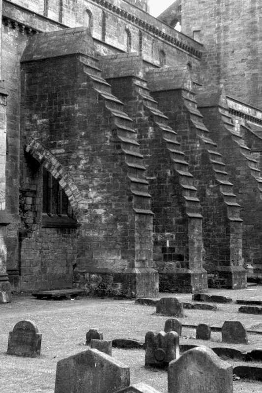 Detail of buttresses at New Abbey Parish Kirk