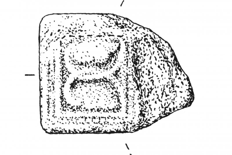 Excerpt of drawing showing cross fragment (Inventory No. 6 215b)