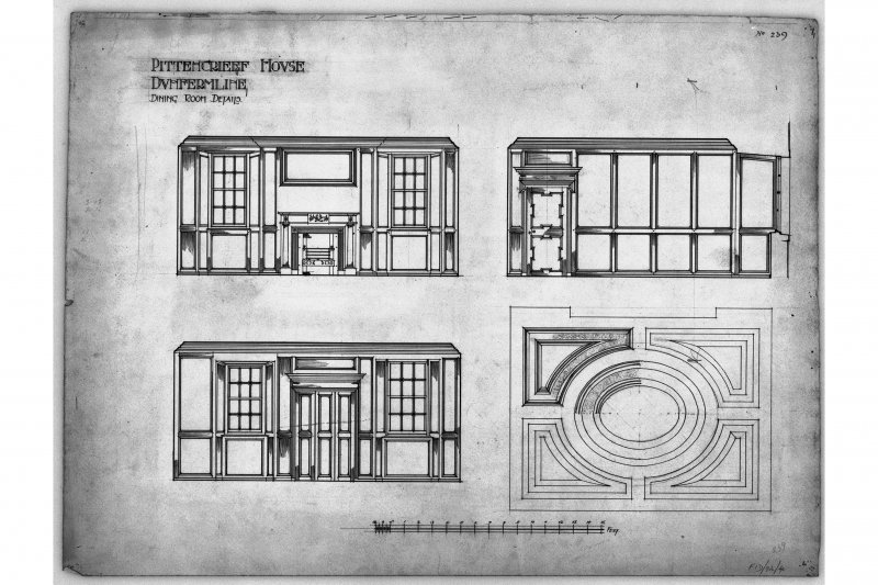 Elevations of wood panelling and plan of ceiling at Pittencrieff House, Dunfermline.