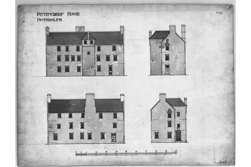 "Elevations of building.  Titled: ""Pittencrieff House, Dunfermline"""
