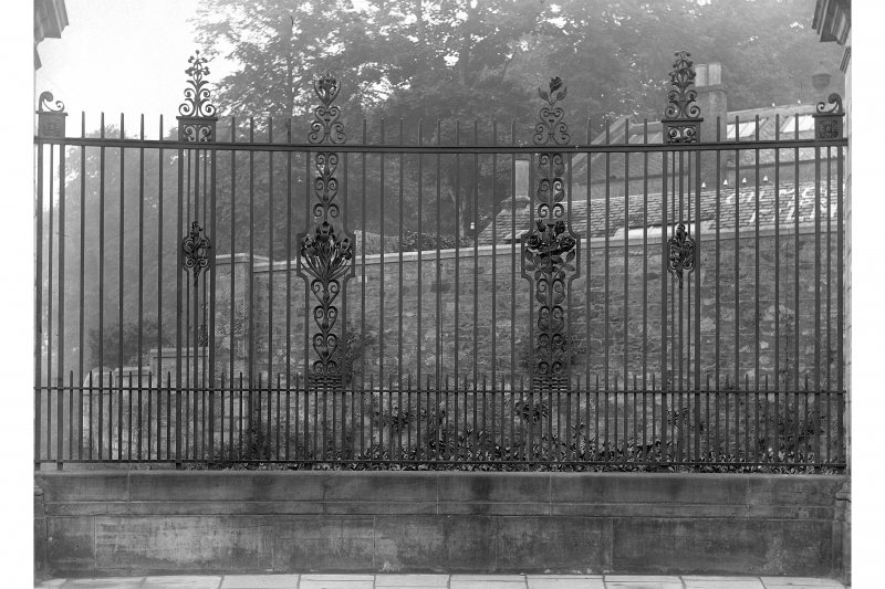 View of railing designed by Jamieson & Arnott made by Thomas Hadden, known as Louise Carnegie Memorial Gate, at Pittencrieff Park, Dumfermline.