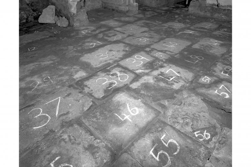 View of numbered flagstones, room 6