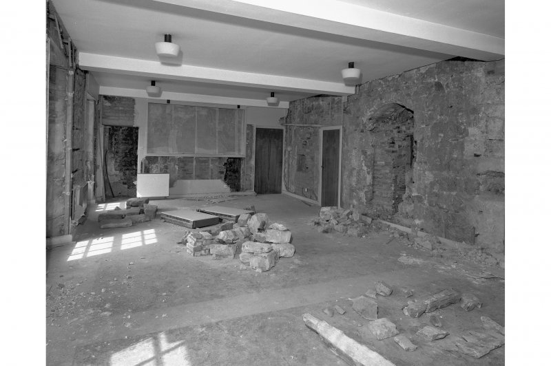 View from South East - general view showing protected mural over fireplace, room 15