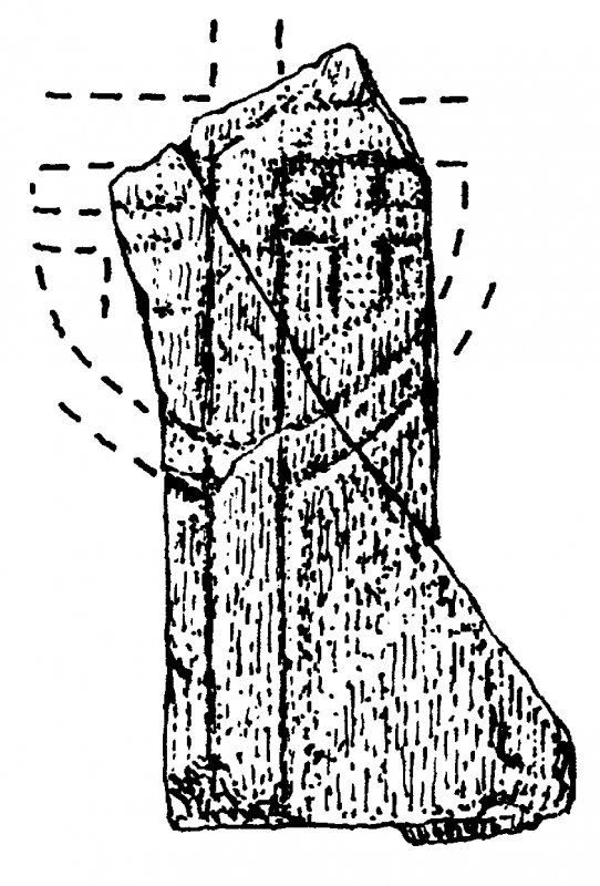 Chapel, Orsay, Islay. Survey drawing of fragments of cross-marked stone.