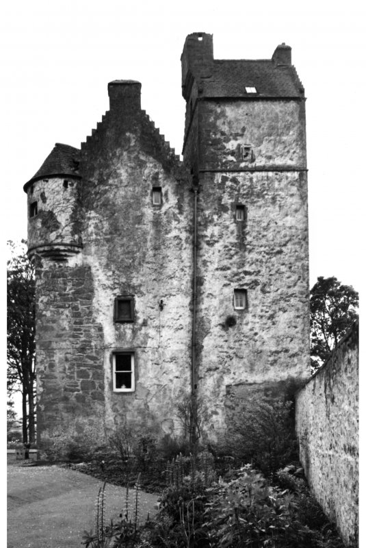 View of tower house from E.