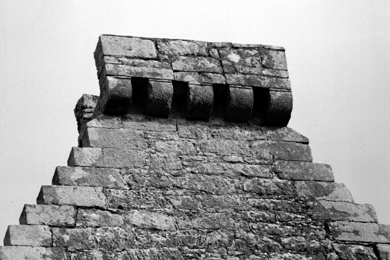 Detail of corbelled platform above SE gable.