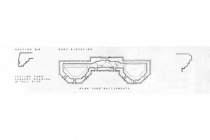 Section thro' parapet opening 1/4 full size, plan thro' battlements, section thro parapet moulding 1/4 full size