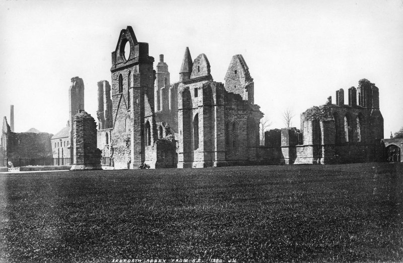 Scanned photograph. View of Arbroath Abbey from SE.